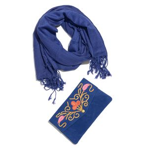 Royal Blue 100% Viscose Fringe Scarf (68x26 in) with Matching Floral Scroll Embroidered Clutch (8x4.5 in)