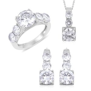 Simulated White Diamond Stainless Steel Earrings, Ring (Size 11) and Pendant With Chain (20 in) TGW 8.00 cts.