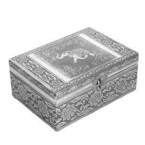 Oxidized Jewelry Box with Tray Elephant Pattern (7x5 in)