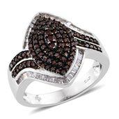 Red Diamond (IR), Diamond Black Rhodium & Platinum Over Sterling Silver Ring (Size 10.0) TDiaWt 1.10 cts, TGW 1.10 cts.