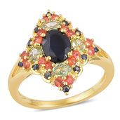 Multi Sapphire 14K YG Over Sterling Silver Split Ring (Size 7.0) TGW 3.42 cts.