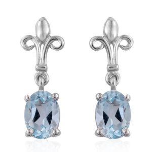 Sky Blue Topaz Platinum Over Sterling Silver Fleur De Lis Earrings TGW 1.86 cts.