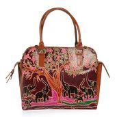 Vivid by Sukriti Jungle Safari Elephants Leather Tote Bag