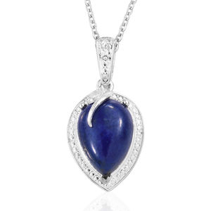 Lapis Lazuli Sterling Silver Pendant With Stainless Steel Chain (20 in) TGW 5.25 cts.