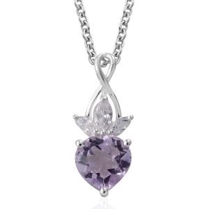 Rose De France Amethyst, Simulated Diamond Sterling Silver Pendant With Stainless Steel Chain (20 in) TGW 2.09 cts.