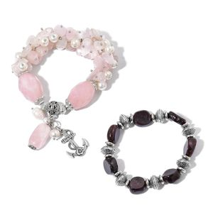 Set of 2 Galilea Rose Quartz, Indian Garnet, Simulated and Freshwater Pearl Beaded Silvertone Bracelets with Charms (Stretchable) TGW 470.00 cts.