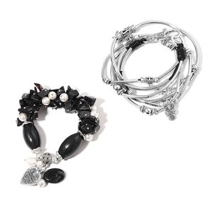 Blue Goldstone, Multi Gemstone Silvertone Necklace or Wrap Bracelet (16.00 In) and Bracelet (Stretchable) TGW 350.00 cts.