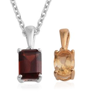 Set of 2 Mozambique Garnet, Brazilian Citrine 14K YG Over and Sterling Silver Pendants With Stainless Steel Chain (20 in) TGW 1.90 cts.