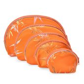 Set of 5 Orange Satin Bamboo Leaf Pattern Nesting Pouches (8.5x6, 7x5, 5.5x4, 5x3.5, 4x3 in)