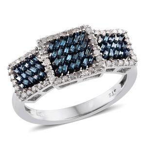 Blue Diamond (IR), Diamond Blue Rhodium & Platinum Over Sterling Silver Ring (Size 8.0) TDiaWt 0.50 cts, TGW 0.50 cts.