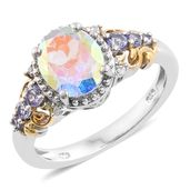 Mercury Mystic Topaz, Tanzanite, Cambodian Zircon 14K YG and Platinum Over Sterling Silver Ring (Size 5.0) TGW 3.08 cts.