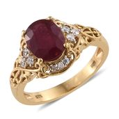 Karen's Fabulous Finds Niassa Ruby, Cambodian Zircon 14K YG Over Sterling Silver Ring (Size 10.0) TGW 3.64 cts.