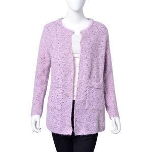 Shimmer Lilac 100% Polyester Open Cardigan with Pockets (One Size)