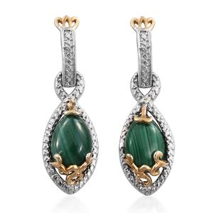 KARIS Collection - African Malachite ION Plated 18K YG and Platinum Bond Brass Earrings TGW 6.90 cts.