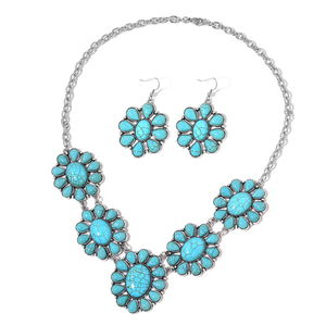 TLV Blue Howlite Black Oxidized Silvertone & Stainless Steel Earrings and Bib Necklace (22 in) TGW 276.00 cts.