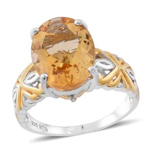 Brazilian Citrine 14K YG Over and Sterling Silver Ring (Size 9.0) TGW 8.00 cts.