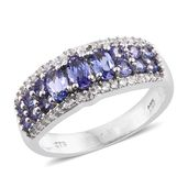 Premium AAA Tanzanite, Cambodian Zircon Platinum Over Sterling Silver Ring (Size 5.0) TGW 1.88 cts.