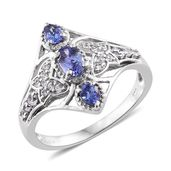 Premium AAA Tanzanite, Cambodian Zircon Platinum Over Sterling Silver Ring (Size 6.0) TGW 1.30 cts.