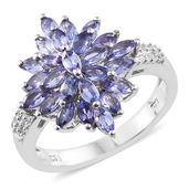 Premium AAA Tanzanite, Cambodian Zircon Platinum Over Sterling Silver Ring (Size 5.0) TGW 2.28 cts.