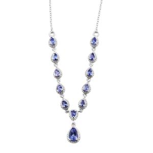 Premium AAA Tanzanite Platinum Over Sterling Silver Necklace With Chain (18 in) TGW 2.20 cts.