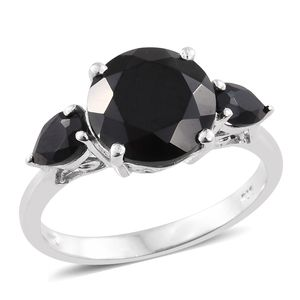 Thai Black Spinel Platinum Over Sterling Silver 3 Stone Ring (Size 10.0) TGW 7.00 cts.