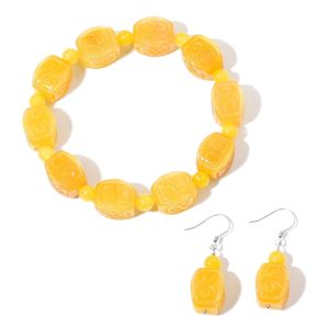 Burmese Yellow Jade Sterling Silver Carved Scroll Bracelet (Stretchable) and Dangle Earrings TGW 302.50 cts.