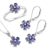Premium AAA Tanzanite Platinum Over Sterling Silver Lever Back Earrings, Ring (Size 7) and Pendant With Chain (20 in) TGW 2.95 cts.