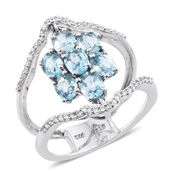 Cambodian Blue Zircon, Cambodian Zircon Platinum Over Sterling Silver Ring (Size 6.0) TGW 3.90 cts.