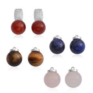 Multi Gemstone Silvertone Set of 5 Earrings TGW 86.50 cts.