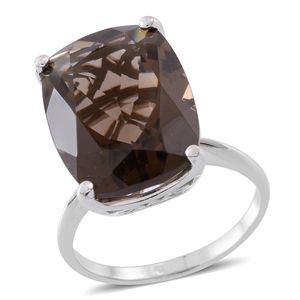 Web Exclusive Doorbuster Brazilian Smoky Quartz Sterling Silver Ring (Size 10.0) TGW 20.00 cts.