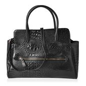 Nik's Pick! Black Crocodile Embossed Vegan Leather Tote Bag with Removable Strap and Standing Studs (16.5x5x13 in)