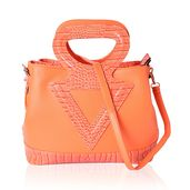 Orange Crocodile Pattern Faux Leather Tote Bag with Standing Studs, Removable Strap, and Half Moon Handle (14.5x7.5x11.5 in)