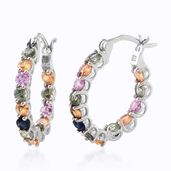 Multi Sapphire Platinum Over Sterling Silver Inside Out Hoop Earrings TGW 3.70 cts.