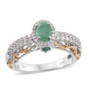Kagem Zambian Emerald, Cambodian Zircon 14K YG and Platinum Over Sterling Silver Ring (Size 5.0) TGW 1.55 cts.
