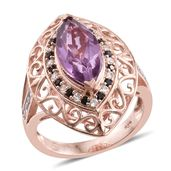 Pink Moscato Quartz, Multi Gemstone 14K RG Over Sterling Silver Ring (Size 6.0) TGW 4.92 cts.