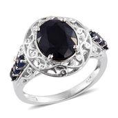 Kanchanaburi Blue Sapphire Platinum Over Sterling Silver Ring (Size 9.0) TGW 4.59 cts.