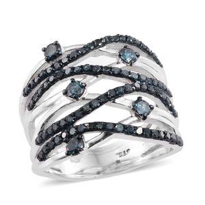 Blue Diamond (IR) Blue Rhodium & Platinum Over Sterling Silver Ring (Size 9.0) TDiaWt 1.50 cts, TGW 1.50 cts.