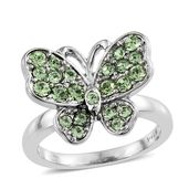 Stainless Steel Butterfly Ring (Size 9.0) Made with SWAROVSKI Peridot Crystal TGW 1.00 cts.