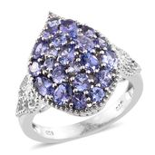 Tanzanite Platinum Over Sterling Silver Cluster Ring (Size 5.0) TGW 3.11 cts.