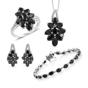 Thai Black Spinel Platinum Over Sterling Silver Split Floral Bracelet (7.50 in), Earrings, Ring (Size 7) Pendant With Chain (18.00 In) TGW 30.00 cts.