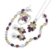 Mega Clearance Multi Gemstone Platinum Over Sterling Silver Split Floral Bracelet (7.50 in), Earrings, Ring (Size 5) and Pendant With Chain (18.00 In) TGW 23.33 cts.