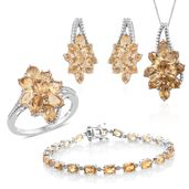 Mega Clearance Brazilian Citrine Platinum Over Sterling Silver Split Floral Bracelet (7.50 in), Earrings, Ring (Size 5) and Pendant With Chain (18.00 In) TGW 19.72 cts.