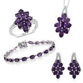 Mega Clearance Amethyst Platinum Over Sterling Silver Split Floral Bracelet (7.50 in), Earrings, Ring (Size 7) Pendant With Chain (18.00 In) TGW 19.54 cts.
