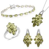Mega Clearance Hebei Peridot Platinum Over Sterling Silver Split Floral Bracelet (7.50 in), Earrings, Ring (Size 5) and Pendant With Chain (18.00 In) TGW 23.10 cts.