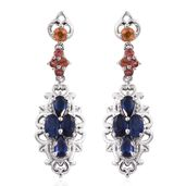 Multi Sapphire Platinum Over Sterling Silver Earrings TGW 2.85 cts.