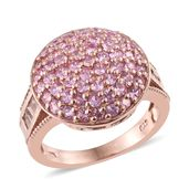 White Topaz, Madagascar Pink Sapphire 14K RG Over Sterling Silver Cluster Dome Ring (Size 7.0) TGW 2.85 cts.