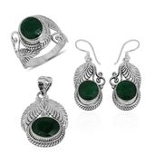 Bali Legacy Collection Emerald (Color Enhanced) Sterling Silver Leaf Engraved Earrings, Ring (Size 8) and Pendant without Chain TGW 24.71 cts.