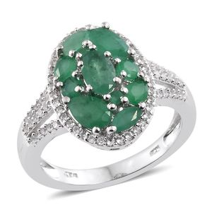 Kagem Zambian Emerald, Cambodian Zircon Platinum Over Sterling Silver Ring (Size 5.0) TGW 2.81 cts.