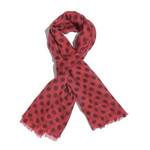Red and Marsala 100% Merino Wool Polka Dots Pattern Scarf (72x28 in)