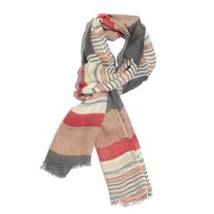 Beige and Multi Color 100% Merino Wool Stripes Pattern Scarf (72x28 in)